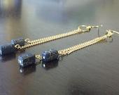 Blue Lightening - Blue glass beaded gold dangle earrings