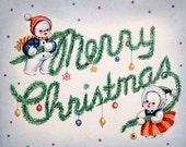 Printable 1940s Retro Christmas Card - High Resolution Vintage Image