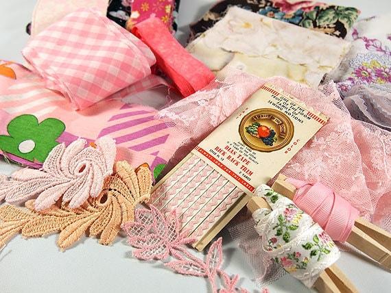 Vintage Pink Grab Bag of Sewing and Crafting Goodies