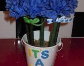 It's a boy blue carnation flower pen bouquet in bucket pot.