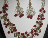 Garnet Red and Gold Crochet Wire Necklace and Earring set