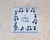 """Ring Bearer Box, Pillow Alternative, Ceremony, """"Musical Notes""""  by Green Orchid Design Studio"""
