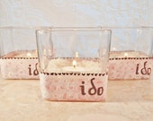 """3 Wedding Candle Holders, Lighting, Pink and Brown, Vintage Inspired """"I Do"""" by Green Orchid Design Studio"""