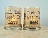 "2 Candle Holders ""All You Need is Love"" Beatles, Rustic Wedding, by Green Orchid Design Studio"