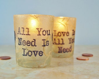 """2 Wedding Votive Candles, Candle Holders, """"All You Need is Love"""" Beatles, Rustic, by Green Orchid Design Studio"""