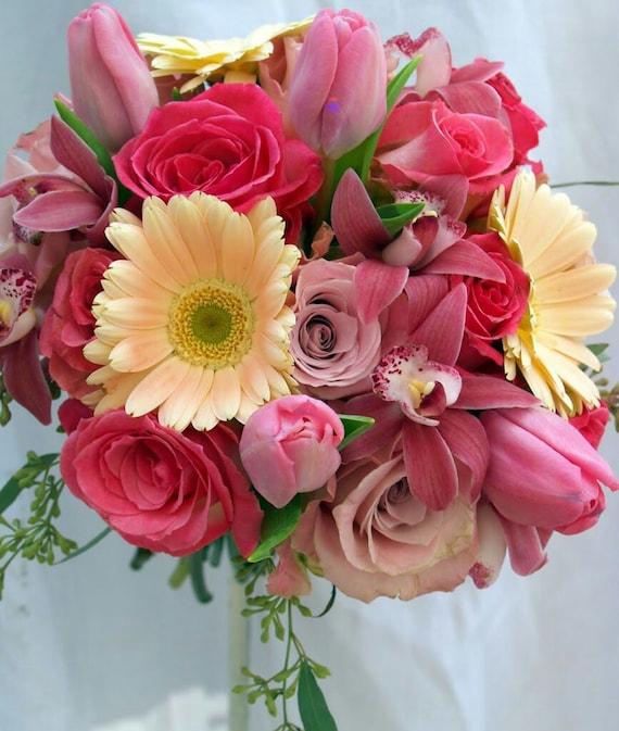 Roses tulips gerbera daisy wedding bouquet bridal by for Wedding bouquet tulips and roses