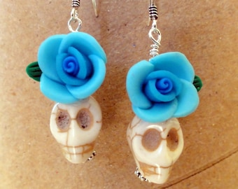 Dia de los Muertos Earrings - White Skull with Blue Flower