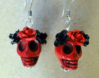 Dia de los Muertos Earrings - Red Skull w/ Black & Red Flowers