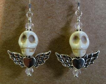 Dia de los Muertos Earrings - Winged Skull Earrings
