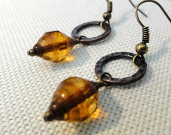 Amber Picasso Glass Earrings