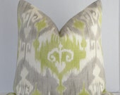 Ikat On BOTH Sides - Decorative Pillow Cover -  / Grey / Lime Green / Off White - Cushion - Pillow Case