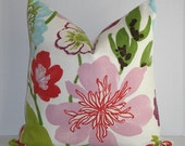 Decorative Pillow Cover / Large Floral / Pink / Green / Red / Purple / Blue  / Throw Pillow / Accent Pillow