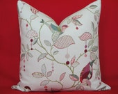 BOTH SIDES - Decorative Pillow Cover / 18x18, 20 x 20, 22x22, 24x24 / Bird / Pink / Green / Lavender/ Blue
