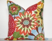BOTH SIDES - Decorative Pillow Cover / 22 X 22 / Large Floral / Red / Orange / Blue / Yellow / Robert Allen