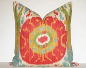 Ikat - Decorative Pillow Cover / Red / Blue / Green / Orange / Yellow