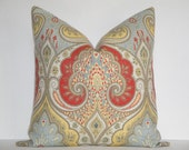Kravet - 18x18, 20x20 - Decorative Pillow  / Latika In Festival / Red / Pale Blue / Yellow / IKAT / Accent Pillow / Sofa Pillow