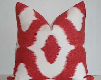 Duralee - Decorative Pillow Cover / Dalesford  / Red / IKAT Design - Accent Pillow - Pillow Case - Cushion Cover