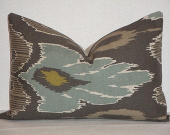 Decorative Pillow Cover  / Brown / Spa Blue / Taupe / IKAT / Lumbar Pillow / Throw Pillow / Accent Pillow