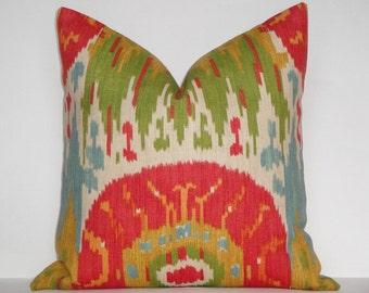 Decorative Pillow Cover / Red / Blue / Green / Orange / Yellow / IKAT / Throw Pillow / Accent Pillow / Toss Pillow