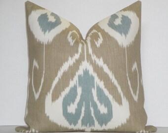 KRAVET Bansuri Bramble * Decorative Pillow Cover * Taupe * Aqua - Blue * Off White * IKAT *