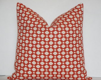 Schumacher -  Celerie Kemble Betwixt in Spark - Decorative Pillow Cover - Deep Orange - Ivory - Throw Pillow - Accent Pillow