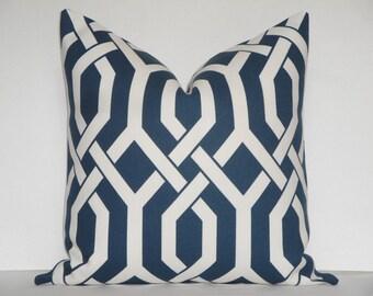 Indoor/Outdoor - Decorative Pillow Cover - Gatework - P Kaufmann - Throw Pillow - Accent Pillow - Blue - White - Trellis - Navy