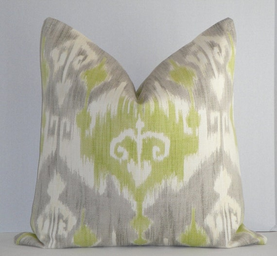 Decorative Pillow Cover / 20 x 20 / Grey / Lime Green / Off White / Ikat On BOTH Sides