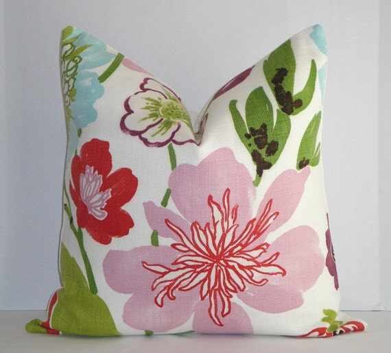 Decorative Pillow Cover / 20 x 20 / Large Floral / Pink / Green / Red / Purple / Blue  / Throw Pillow / Accent Pillow