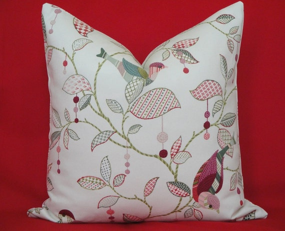 BOTH SIDES - Decorative Pillow Cover / 20 x 20 / Bird / Pink / Green / Lavender/ Blue