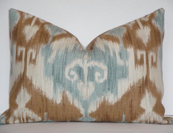 Decorative Pillow Cover / 14 x 20 / IKAT / Sienna / Teal / Ivory / Toss Pillow / Accent Pillow / Lumbar Pillow