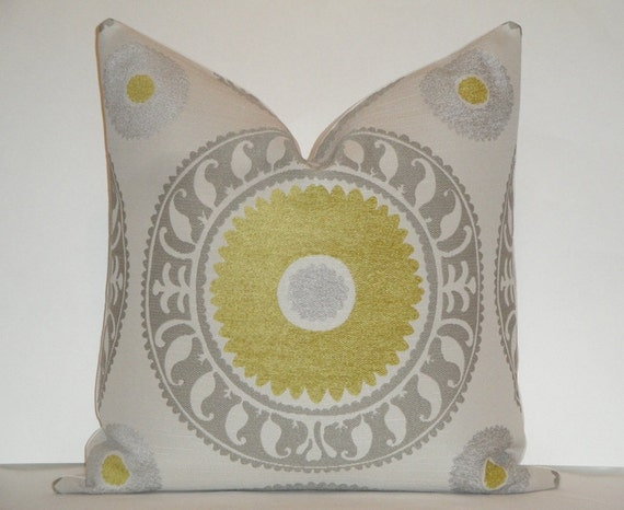 Decorative Pillow Cover / 20 x 20 / Suzani / Citrine / Grey / Taupe / Throw Pillow / Accent Pillow / Toss Pillow
