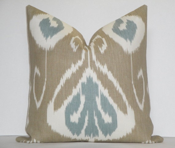 Decorative Pillow Cover / 18 x 18 /  Taupe/  Aqua - Blue / Off White / IKAT / Kravet