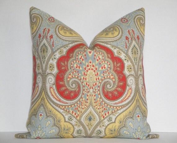 Kravet - Decorative Pillow  / Latika In Festival / Warm Red / Pale Blue / Yellow / IKAT / Throw Pillow / Accent Pillow / Sofa Pillow
