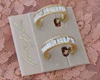 Vintage Kenneth Lane Rhinestone Hoops still on the card they sold with!!