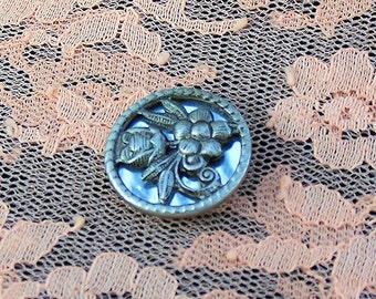Vintage Metal Mirror Back flower button Excellent condition Reuse Repurpose Repair Collect
