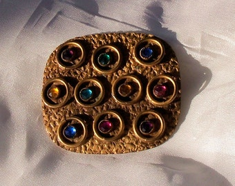 Vintage Arts and Crafts Period Brooch Hammered Brass with Multicolor Rhinestones c 1910