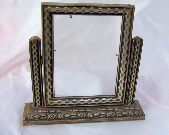 Vintage 1920s Deco Tilting Picture Frame with Glass Perfect for a small space or group of Pictures
