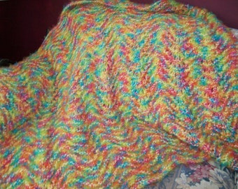 hand made fan and feather afghan
