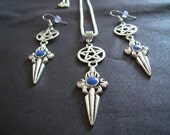 Pentacle and Dagger with Triple Moon Design Necklace and Earring Set