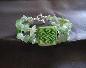 Celtic Bracelet made with Genuine Aventurine and Bone Beads