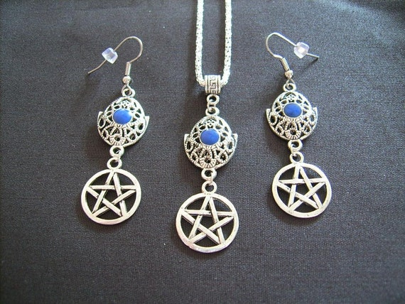 Pentacle with Stylized Hamsa Hand  Protection from the Evil Eye  Necklace and Earring Set