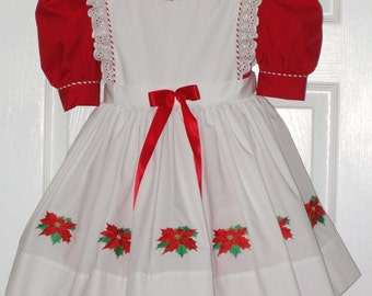Christmas Poinsetta Girl's Holiday Dress Custom Made Boutique Quality Size 6