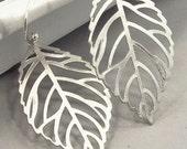 Silver Leaf Earrings, Silver Drop Earrings, Skeleton Leaf Earrings, Nature Jewelry, Sterling Silver Dangle Earrings