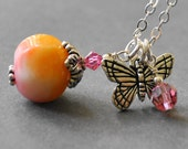 Yellow and Pink Beaded Necklace, Butterfly Necklace, Pendant Necklace, Handmade Sterling Silver Jewelry