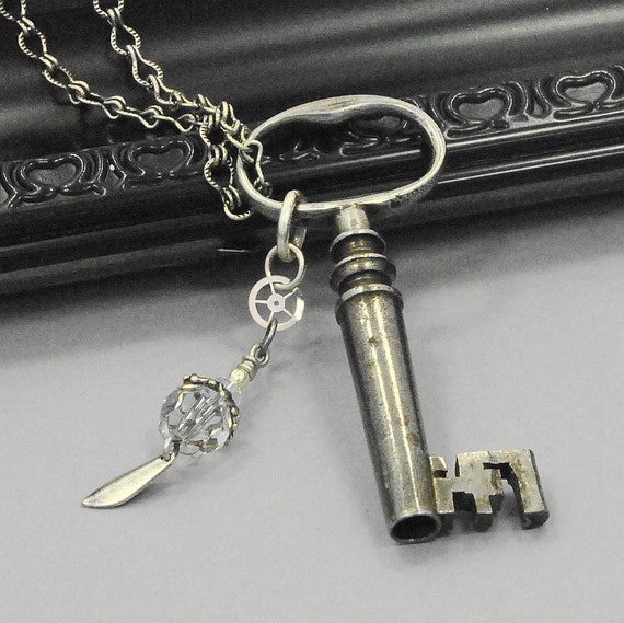 Skeleton Key Pendant Necklace,  Steampunk Jewelry,  Altered Art Jewelry, Victorian Jewelry