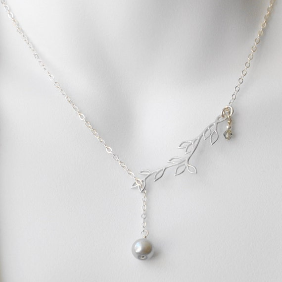 Gray Pearl Lariat Necklace, Single Pearl Necklace,  Pearl and Branch Necklace, Handmade Sterling Silver Jewelry