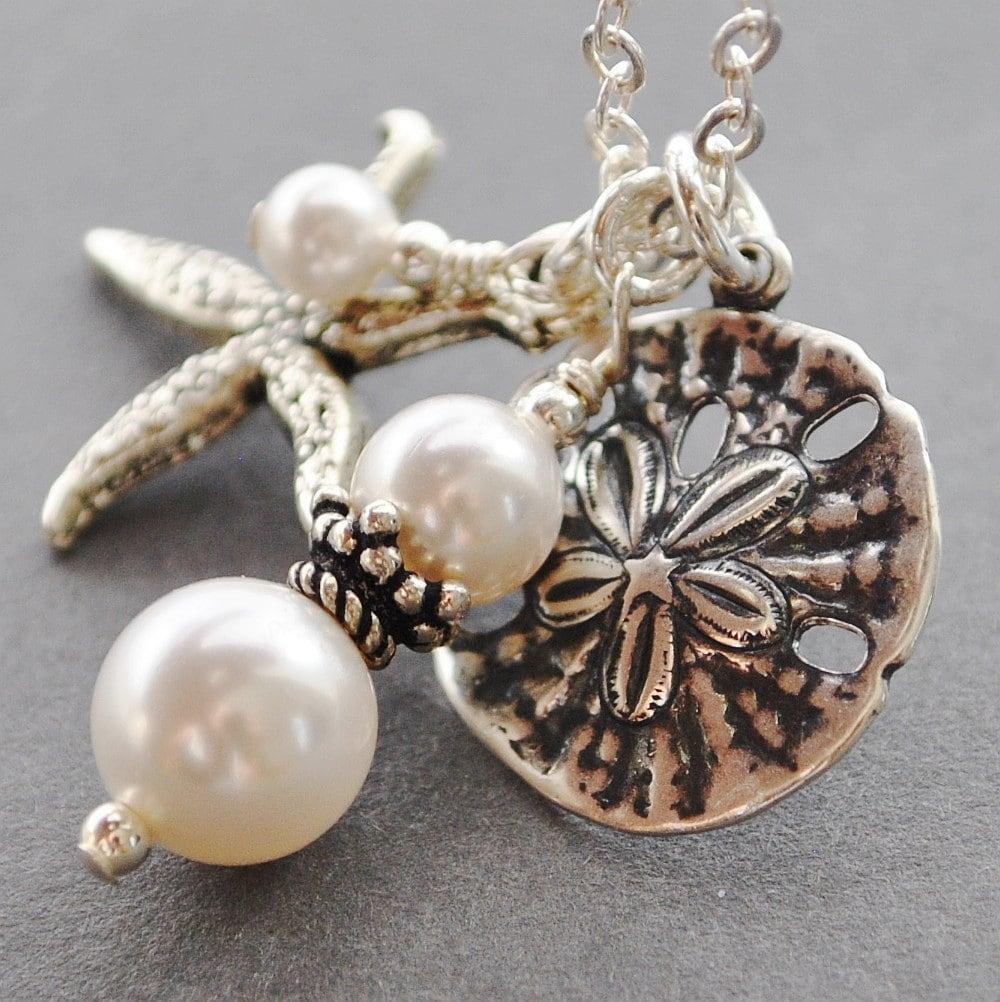 White Pearl Pendant Necklace: Silver Sand Dollar Necklace White Pearl Necklace Nautical