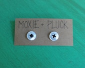 """Stitched-On - 1/2"""" Pearlescent Button Earrings with Black Embroidery Foss"""
