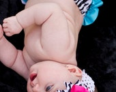 Pink and Blue zebra Bow that matches Mud pie outfits