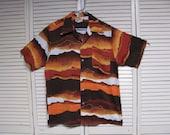 man's Hawaiian shirt, Size large, Fashioned by Hukilau Fashions made in Honolulu, Wave pattern in orange/brown/yellow shades. NICE.......B 8
